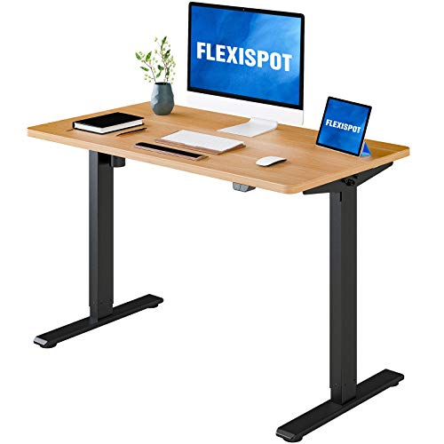 FLEXISPOT Electric Height Adjustable Standing Desk Heavy Duty Steel Stand Up Desk Frame w/Automatic Smart Keypad (EC1 Classic Black Frame + 48 in Maple Top)
