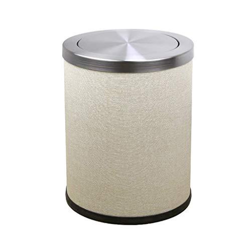 LXYZ Bote de Basura con Tapa abatible de Cuero de Acero Inoxidable, Forma de Cubo Redondo, con un Cubo Interior extraíble, silencioso, Olor a Bloque, para hoteles, oficinas, hogares