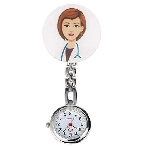 Clara números arábigos Blancos Dial Reloj Pendiente Hombres Mujeres Médico de Dibujos Animados/Patrón Enfermera práctica para los Relojes de Bolsillo Nurse Doctor