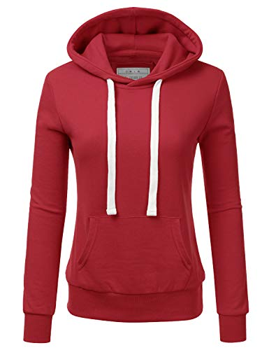 Doublju Basic Lightweight Pullover Hoodie Sweatshirt for Women RED Large