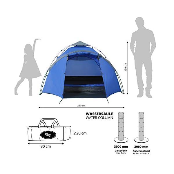 Lumaland Tienda de campaña Familiar Light Pop Up 3 Personas Camping Acampada Festival 220 x 220 x 130 cm 3