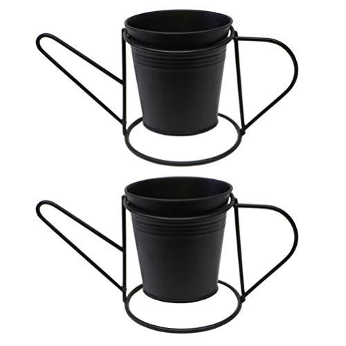 Angoily 2 Piezas de Maceta de Hierro de Metal Pequeña Maceta Moderna Maceta con Soportes Material a Prueba de Óxido Maceta para Decoración de Interiores Y Exteriores (Color Aleatorio)