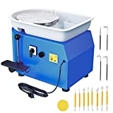 ANBULL 350w Electric Pottery Wheel Machine 25cm Removable ABS Basin,Pottery Ceramic Clay Work Forming Machine with Adjustable Lever and Feet Lever Pedal(Blue)