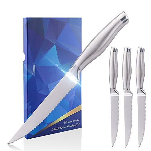 DDoyci 4pcs Conjunto de Cuchillas de Carne de Filete de Acero Inoxidable 5 Pulgadas Mesa de Cocina Cuchillos de Cena Conjunto de vajillas Restaurante