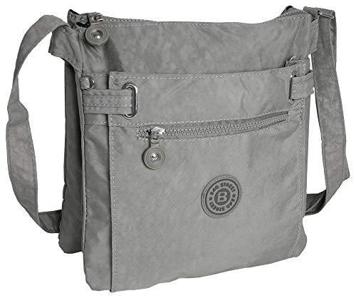 sportliche Handtasche/Schultertasche/Umhängetasche aus Nylon grau