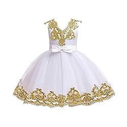 Sequin Bowknot Tutu White Color Gown