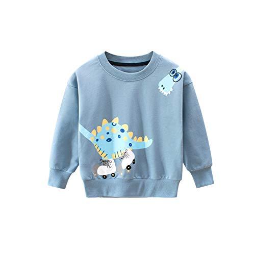 Surwin Sudadera Cuello Redondo para niños Unisex Jersey Manga Larga Algodón Suave Casual Camiseta Superior Ropa Invierno Chándal (Dinosaurio Azul,5T/120cm)