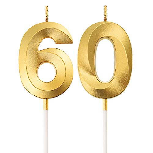 BBTO 60. Geburtstag Kerzen Kuchen Ziffer Kerzen Alles Gute zum Geburtstag Kuchen Topper Dekoration für Geburtstag Party Hochzeit Jahrestag Feier Lieferungen