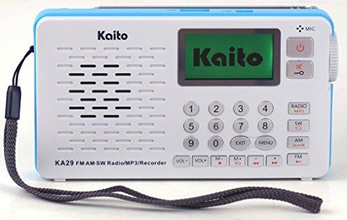 Kaito KA29 All in One World Receiver, mit Recorder, AM FM SW Radio und MP3-Player, Schwarz, weiß