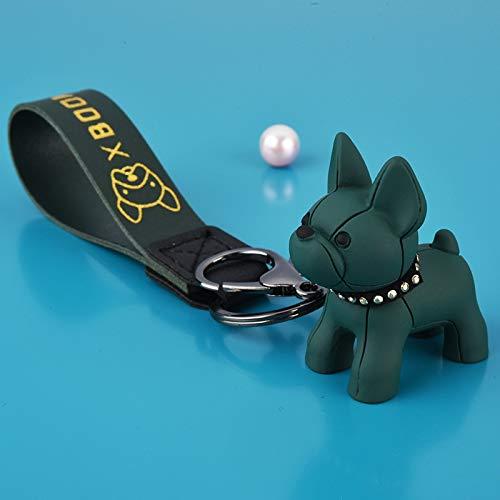 Fashion Punk French Bulldog Keychain PU Leather Dog Keychains for Women Bag Pendant Jewelry Trinket Men's Car Key Ring Key Chain (Color : 230 Green)