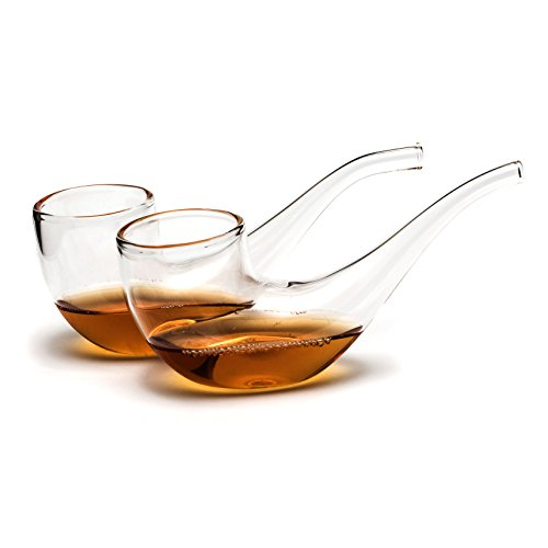 CKB LTD® Pack of 2 - Brandy Port Pipe Sipping Glasses Set Verre à Cognac Brandy 75ml - with Narrow Tube to Enhance The Flavour