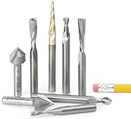 """high quality Amana Tool sale - AMS-134 8-PC General Purpose CNC Router sale Bit Collection, 1/4"""" Shank outlet sale"""