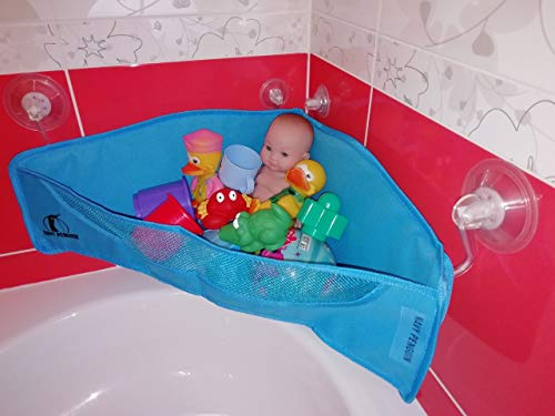 Organizador de Juguetes de Baño - Ventosas Extra Fuertes - Red de Malla para Juguetes para la Bañera – Bolsa Contenedora de Rincón de Ducha - Guarda de Baño para Bebés