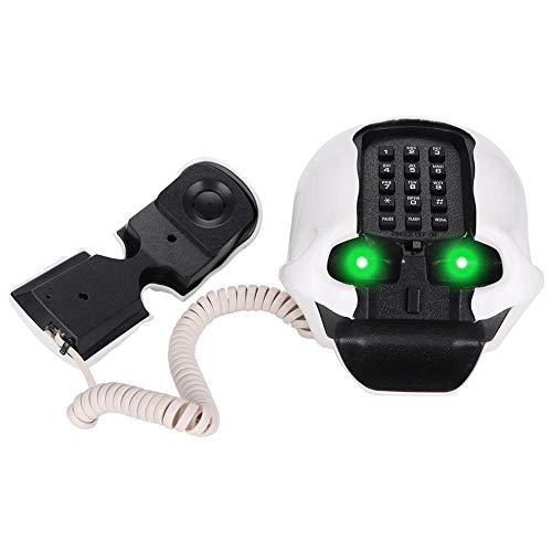 Teléfono, teléfono con Forma de Calavera WX-3201, teléfono Fijo de Oficina en el hogar, teléfono Fijo, Sonido, Moderno y novedoso(Blanco)