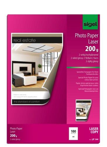 SIGEL LP144 Fotopapier für Laser / Kopierer, A4, 100 Blatt, 2seitig glossy, hochweiß, beidseitig bedruckbar, 200 g - weitere Grammaturen