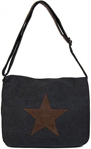 styleBREAKER Canvas Umhängetasche mit aufgenähtem Kunstleder Stern, Tasche, Unisex 02012068, Farbe:Schwarz