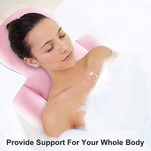 Full Body Bath Pillow, Bathtub Pillow Ergonomic Non-Slip Bath Cushion for Head Neck Shoulder Back Support, Bath Accessories, Fits All Bathtub, Spa Tub, Hot Jacuzzi (Pink)