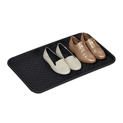 Relaxdays Bandeja Zapatos Grande, Relieve, Anti Goteo, Zapatero, Boot Tray, Recibidor, PP, 1 Ud, 3 x 60 x 40 cm, Negro