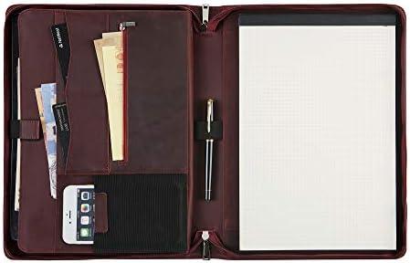 Business Leather Portfolio Handmade Full Grain Leather Padfolio Executive Zipped Document Folder product image