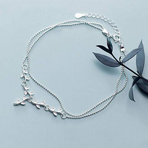 BENGKUI Women'S 925 Sterling Silver Bracelet,Fashion Double-Deck Beads Chain Branch Leaf Anklets For Women Fine Silver Jewelry For Women &Amp; Birthday Gifts For Mum Wife