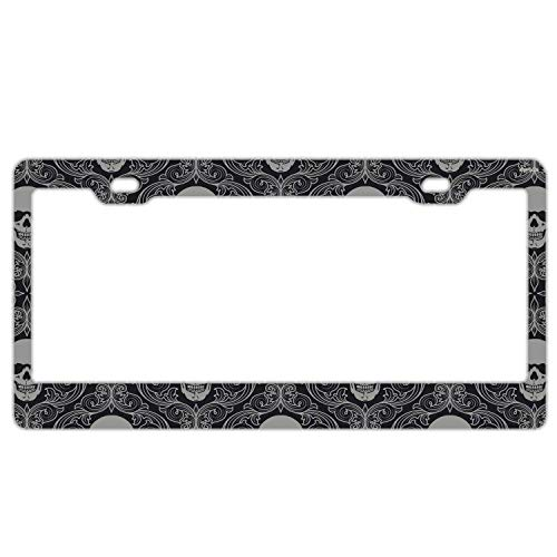 "Promini Abstract Vintage Flower Sugar Skull License Plate Frame Car License Plate Covers Auto Tag Holder 6"" x 12"""