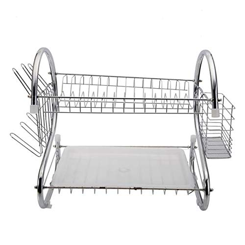 Dish Drying Rack and Drainboard Set, 2-Tier Dish Rack with Utensil Holder, Cutting Board Holder and Dish Drainer for Kitchen Counter (Silver, Metal)
