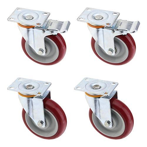 12,7 cm Lenkrollen-Set, Standard- und Bremsrad, verzinkter Stahl, strapazierfähig, 400 kg Traglast