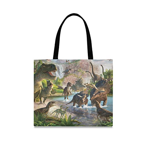 Tote Bag Reutilizable Casual Fashion Picnic Bolso de gran capacidad Cartoon Dinosaur Kingdom