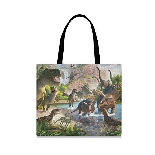 Tote Bag Reutilizable Casual Fashion Picnic Bolso de gran capacidad Cartoon Dinosaur Kingdom