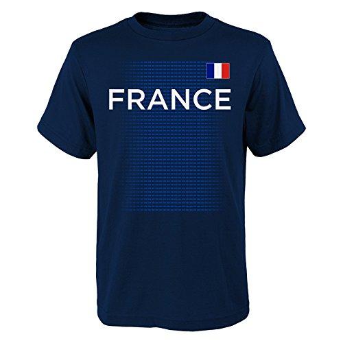 World Cup Soccer France Youth Boys 'One Team 2018' Tee, Navy, Youth Medium(10-12)