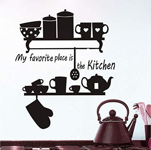 Zfkdsd Mein Lieblingsplatz Ist Die Küche Teekanne Tasse Geschirr Regal Zitieren Wandaufkleber Home Decor Große Wandbilder Schmücken Vinyl Abnehmbare 58 * 70Cm