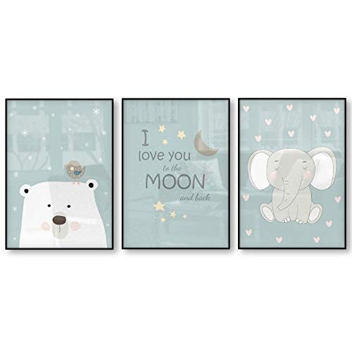 Eisbär vogel olifant Ik hou van je tot aan de maan en terug kinderen muurkunst poster baby kamer canvasdruk kinderkamer wanddecoratie 40x60cmx3 niet ingelijst