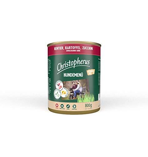Christopherus Hundemenü, Mit Rentier, Kartoffel, Zucchini, Vollnahrung für erwachsene Hunde, Nassfutter, 6 x 800 g