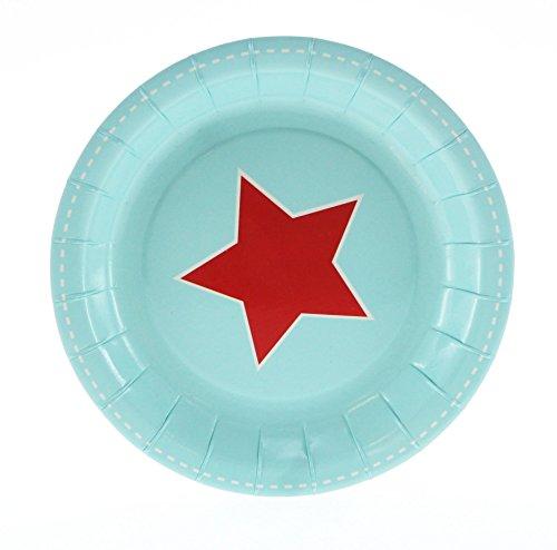 12 Kleine Blaue Dessert-Papp-Teller mit einem Roten Stern