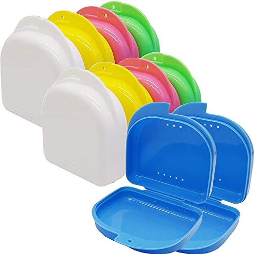 RONYOUNG 10PCS Mouth Guard Case Retainer Box Orthodontic Denture Storage Container, 5 Color