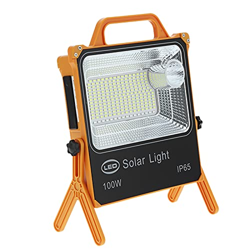 Luz de trabajo LED, 100W Funciona con energía solar Recargable Portátil 8000LM Brillo Impermeable USB Focos de inundación con batería de 10000 mAh, Lámpara de emergencia para exterior Cámping Taller