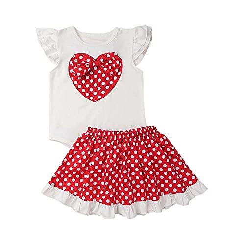 junmo shop Bebé recién nacido bebé niña manga voladora amor corazón arco Tops lunares lunares encaje falda día de San Valentín