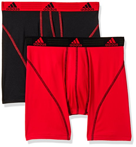 adidas Men's Sport Performance Boxer Briefs Underwear (2 Pack), Real Red/Black Black/Real Red, LARGE
