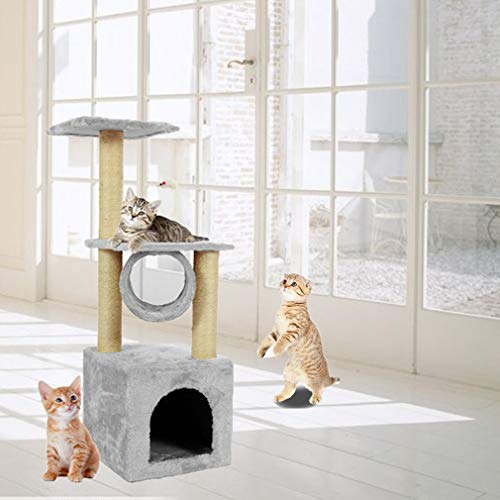 Kunyoxiu Cat tree Cat scratching post cat kitten climbing tower with Rope and Hammock Scratches Bed Tree Climbing Toy Activity Center Play Tower House Home Decorative Fuiniture (Milky white)
