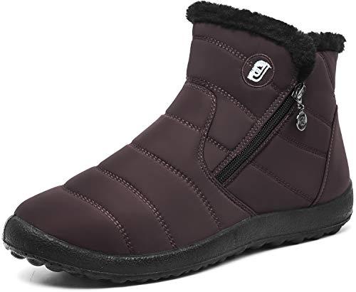 JIASUQI Damen Anti-Rutsch Stiefel Winter wasserdichte Schneeschuhe Gummisohle Braun, 39 EU ( Hersteller Größe: 245  )
