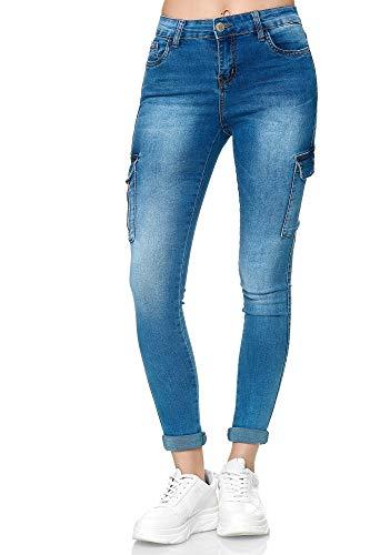 Elara Damen Cargo Jeans Slim Fit Seiten Taschen Chunkyrayan YA477 Blue-44 (2XL)