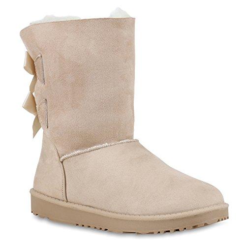 Warm Gefütterte Damen Stiefel Boots Schlupfstiefel Schuhe 129786 Creme Camiri 38 Flandell