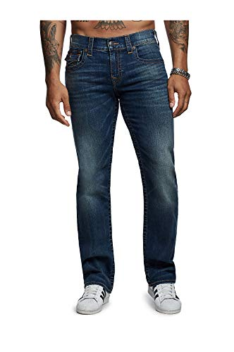 True Religion Men's Ricky Straight Jean with Flap, Getd Blue Stream, 40