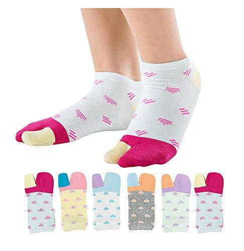Women's Solid 2 Toe Flip Flop Tabi Socks Geta Ankle Cotton 5 / 6 Pairs -  UBUMO