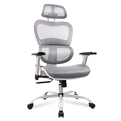 Mesh Office Chair, Ergonomic Desk Chair Technical Task Swivel Chair Executive High Back Chair Adjustable Home Chair - Grey