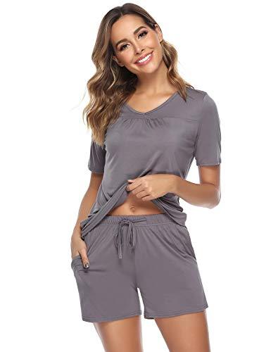 Arblove Pyjamaset för kvinnor bomull kortärmad myskläder topp och nederdel dam pyjamas nattkläder