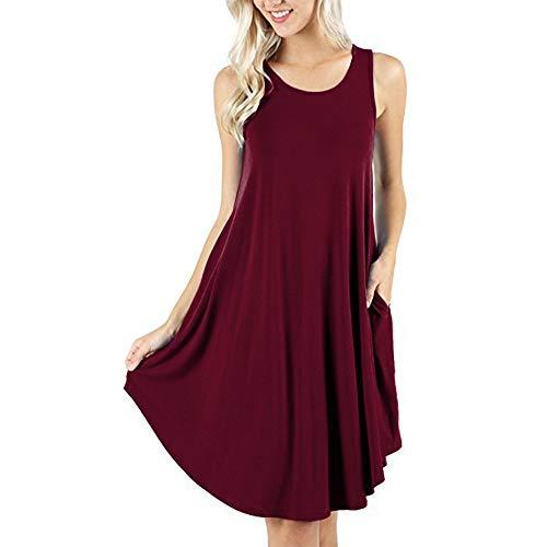 d.Stil Damen Kleid Casual Ärmellos Rundhals mit Taschen Basic Longshirt S-XXXXL (XXXXL, Weinrot)