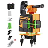 12 Lines Laser Level Self Leveling, OMMO 3D Green Laser Level for Construction, 3 Planes Leveling with Two 360° Vertical and One 360° Horizontal Lines, Li-ion Battery and Remote Controller Included