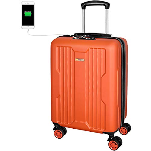 DONPEREGRINO Carry On Cabin Suitcase 55x40x20 with TSA Lock & USB Ports, Lightweight Hand Luggage Suitcases with 4 Smooth Double Wheels