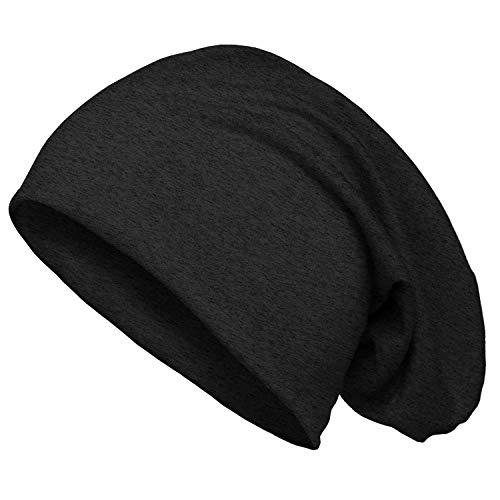 Autiga einfarbige, weiche Jersey Slouch Beanie, Oversized Long-Beanie Mütze für Herren und Damen, Unifarben, anthrazit Unisize